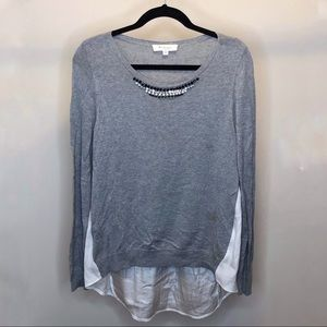 Two by Vince Camuto Grey Jewel Sweater
